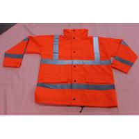 Buy cheap High visibility waterproof safety rainwear , red reflective jacket EN ISO 20471 product