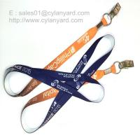 Buy cheap Flat sublimation lanyard with bulldog clip, dye sub lanyard with metal sheet crimp from wholesalers