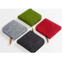 Buy cheap 11*10*1cm Environmentally Friendly Felt Fabric Bags With Leather Zipper from wholesalers