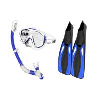 Buy cheap Silicone Monthpiece Adult Snorkel Set 100 % Leak - Proof With Blue Color from wholesalers