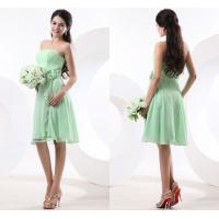 Buy cheap Light Green Chiffon Knee Length Evening Dresses Strapless with Flower Ruffles from wholesalers