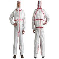 Buy cheap Microporous Film Laminated SF Disposable Boiler Suits With Red Stripe from wholesalers