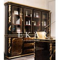 Buy cheap Vintage Empire Style Solid Wood Bookcase With Glass Doors TJ-029 from wholesalers