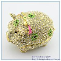 Buy cheap Crystal Swine Pig Jewelry Holder Kitchen Decor online Pig Crystals Jewelry Trinket Box from wholesalers