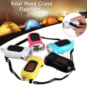 Buy cheap 3.6V Solar Powered Hand Crank Flashlight 3 LED Torch Dynamo Emergency Camping Light product