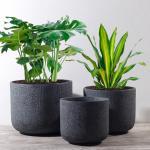 Buy cheap Outdoor Pot Planters Gray Color Plant Pots Fiber Clay Flower Pots Garden Pots Flower Round Planters 3 Sizes for Choice from wholesalers