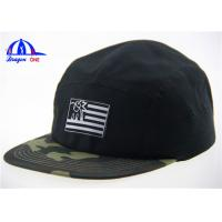 Buy cheap Black and Camo Embroidery Logo 5 Panel Camp Cap Flat Short Brim Camp Army Hats from wholesalers
