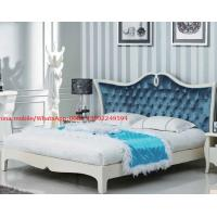 Buy cheap Neoclassical design Luxury Furniture Fabric Upholstery headboard King Bed with Crystal Pull buckle Decoration from wholesalers