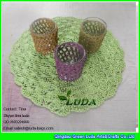 Buy cheap LDTM-040 green paper straw placemat round floral decorative table placemat from wholesalers