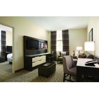 Buy cheap Hotel Executive Suite Bedroom Furniture Double Bed with TV storage Cabinets by Dark oak wood and Reception Living Sofa from wholesalers