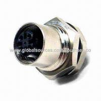 Buy cheap Female 8-pin Waterproof Cable Adapter Connector in DC Type with M12 Black Housing from wholesalers