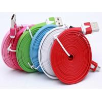 Buy cheap 1M 3m data cable Noodle Flat USB 2.0 usb cable usb charging cables for iphone 5 6s plus S6 from wholesalers