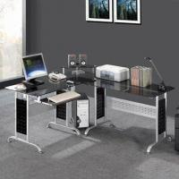 Buy cheap Tempered Glass Corner Computer Desk with Mobile CPU Holder from wholesalers