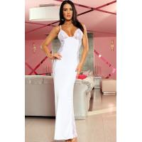 Buy cheap Sexy Lingerie Wholesale White Satin Lace Natalia Long Lingerie Gown with Size S to XXXL from wholesalers