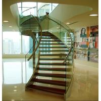 Buy cheap Stainless steel curved glass staircase indoor glass stairs product
