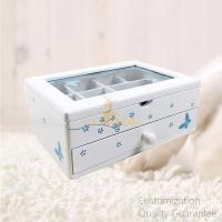 Buy cheap Butterfly Flower MDF Matte White Wooden Girl's Jewelry Storage Display Chest Box with Window , Personalized Logo Brand. product