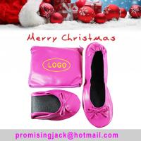 Buy cheap 2018 Hot Sell Christmas Gift! Factory Wholesale Pink Kidskin Flat Heel Roll up Ballerina Shoes in a Bag from wholesalers
