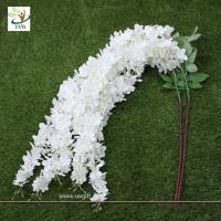 Buy cheap UVG Wedding favor with white cheap silk artificial wisteria flower for party decoration from wholesalers