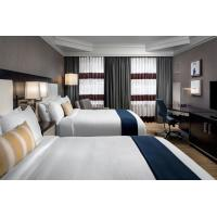 Buy cheap laminated Oak wood Hotel bedroom Furniture sets Tall headboard with Fabric from wholesalers