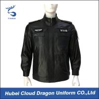 Buy cheap Customized Autumn Genine Black Security Jacket , 100% Real Leather from wholesalers