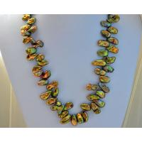 Buy cheap Sharp Green Freshwater Keshi Pearl Beaded strand Necklace from wholesalers