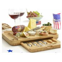 China Bamboo Wooden Cheese Board With 6 Stainless Steel Cheese Knives & 6 Appetizer Forks on sale