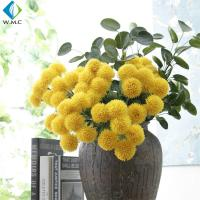 Buy cheap Yellow White Fake Flower Bouquet , Ball Shape Artificial Chrysanthemum Flowers from wholesalers