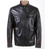 Buy cheap Size 54  56 XXXXL Black / Dark Red / Coffee knitted  PU Leather Jacket for Men product