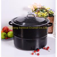Buy cheap 30QT large capacity cast iron black stock pot kitchen cookware enamel pot product