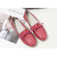 Buy cheap Red Pink Comfortable Trendy Shoes Ladies Leather Flats For Any Occasions from wholesalers