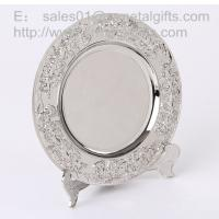 Buy cheap Polish Silver metal anniversary plate with stand for display, metal souvenir tray, from wholesalers