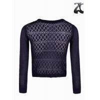 Buy cheap Purple Crochet Knit Shrug Sweaters for Women Round Neck with Knitted Bow on Neck from wholesalers
