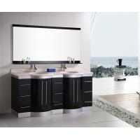 Buy cheap Artificial Stone Eased Edges Double Vanity Countertops And Sinks Black Color from wholesalers