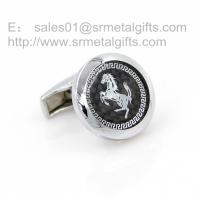Buy cheap 20mm round horse image cufflinks with glass top, stocked cuff links for men, from wholesalers