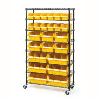 Buy cheap Rolling Adjustable Wire Rack Shelving / 8 Shelves Wire Frame Storage Racks Bin Storage from wholesalers