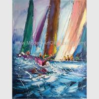 Buy cheap Abstract Palette Knife Sailing Boats Paintings, Hand Painted Thick Oil Canvas Art from wholesalers