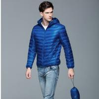 Buy cheap new style small quantity solid color nylon/polyester winter mix size slim fit men goose feather jacket from wholesalers