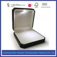 Buy cheap Compact Size Leather Jewelry Box Black PU And White Velvet Materials from wholesalers