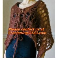 Buy cheap Hand Knitted Poncho, Brown Scarf,Wool Knitted Sweater Green Free Knitting Crochet Woman from wholesalers