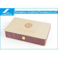 Buy cheap Elegant Gold Cosmetic Packaging Box Embossed Leather Material 31 * 19 * 6.5cm from wholesalers
