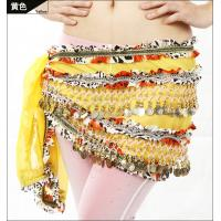Buy cheap Embroidered Chiffon Ladies Belly Dancing Waist Scarf With Golden Coins And Beads from wholesalers