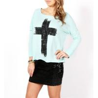 Top quality Mint Fall Cross Cotton Girls Tank Tops Womens Long Sleeve T Shirt for sale