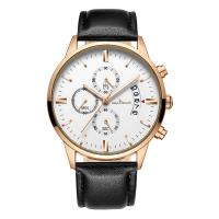 Buy cheap Genuine leather men watches luxury brand business fashion quartz watch custom from wholesalers