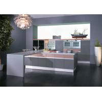 Buy cheap Grey / Pink High Gloss Lacquer Kitchen Cabinets With White Quartz Stone from wholesalers