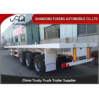 China Flatbed container transport semi trailer , 3 axles flat bed container semi trailer truck on sale