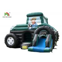 Buy cheap Slide Combo Green Agricultural Car Inflatable Jumping Castle For Rent 1 - 2 Years Warranty from wholesalers