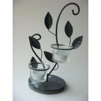Buy cheap Handmade Iron Antique Tea Light Candle Holders With Slate Base product