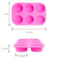 Buy cheap 2 Pack Silicone round Muffin Pan, 6 Cup Baking Tin Non-Stick Bakeware mold for Cupcakes Puddings from wholesalers