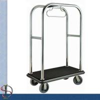 Buy cheap Chrome Round Bend Tube Luggage Trolley /Heavy-Duty Luggage Cart / Metal Luggage Trolley / Hotel Luggage Cart from wholesalers