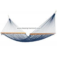 Adult Kids Travel Simple Rope Hammock With Solid Hardwood Bars Blue All Weather